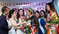 Averie Bishop reacts after being crowned Miss Asian American Texas.(Courtesy/Jarvis Jacobs)