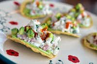 White ceviche served on a tostada at Jose in Dallas.(Ben Torres/Special Contributor)