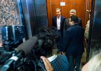 "<p>Speaker of the House Joe Straus (left) leaves the House Republican Caucus meeting Wednesday in Austin. (<a name=""firsthit"" id=""firsthit""></a>Ashley Landis/The Dallas Morning News)</p>"