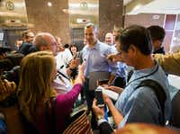 "<p>Rep. Matt Schaefer, chair of the Freedom Caucus, answers reporters' questions after the House Republican Caucus meeting. (<a name=""firsthit"" id=""firsthit""></a>Ashley Landis/The Dallas Morning New<wbr>s)</p>"