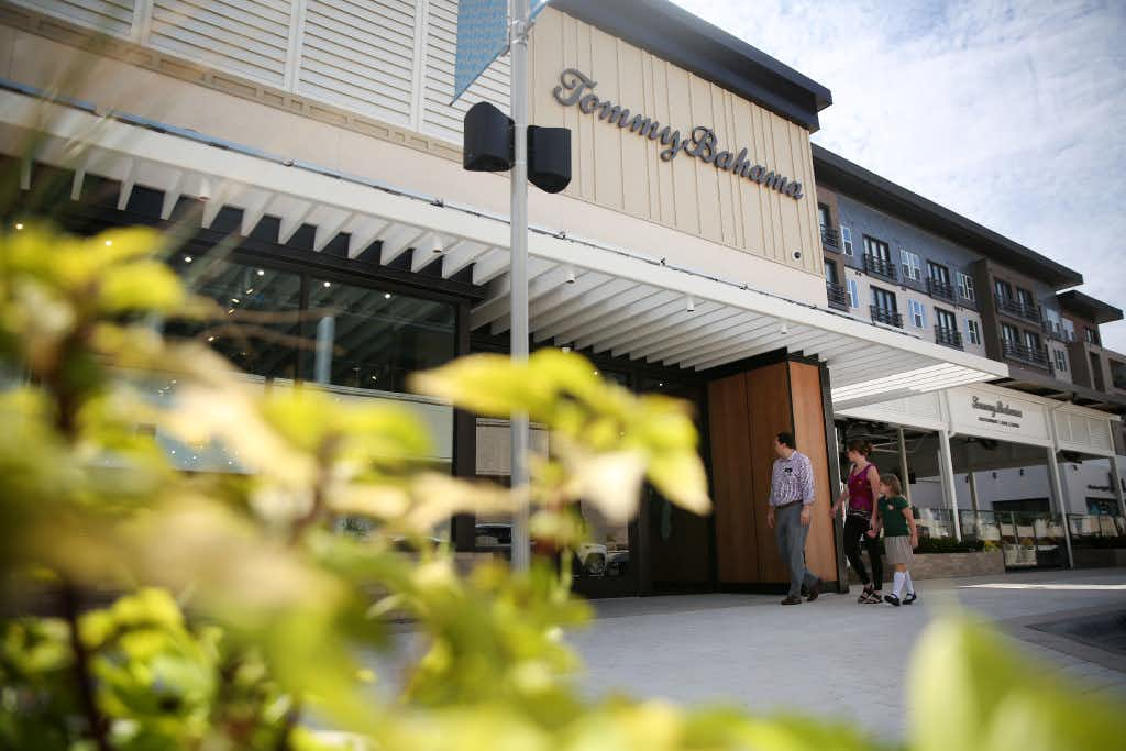 Exterior of the Tommy Bahama restaurant and store location at Legacy West in Plano.(Rose Baca/Staff Photographer)