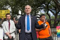 U.S Rep. Lloyd Doggett used Brady's speech to ding Republicans over President Donald Trump's handling of the Charlottesville, Va., violence. (Ricardo B. Brazziell/AP)