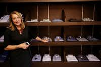 Lisa Mullman, senior vice president for design, product development and sourcing, speaks to The Dallas Morning News while at The Apparel Group Ltd. distribution center in Lewisville, Texas Thursday August 10, 2017.  The company is selling its Enro brand of men's shirts directly to the consumer both on Amazon.com and on enro.com. (Andy Jacobsohn/The Dallas Morning News)(Andy Jacobsohn/Staff Photographer)