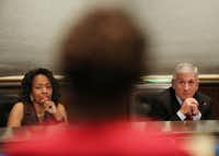 Joyce Foreman (left), the district 6 board trustee, and Dan Micciche, president of the Dallas ISD Board of Trustees, listens during a public hearing and board meeting of the Dallas Independent School District at the Dallas ISD headquarters on Aug. 18. (Andy Jacobsohn/Staff Photographer)