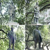 The four statues removed from the University of Texas at Austin's South Mall were (clockwise from top left): Robert E. Lee, Albert Sidney Johnston, Gov. James Hogg and John Reagan.(2015 File Photos/Staff)
