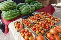 Demases Farm brings watermelon and new-crop (fall) tomatoes to Casa Linda Plaza, at the Four Seasons Casa Linda farmers market. (Kim Pierce/Special Contributor)