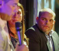 "National Baseball Hall of Famer Ivan ""Pudge"" Rodriguez (right) listens to former fellow Texas Rangers Michael Young at the Legends and Leaders event at Cholula Porch at Globe Life Park in Arlington.(Ron Baselice/Staff Photographer)"