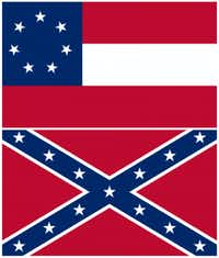Top: The first Confederate national flag, the one that flew over Six Flags. Bottom: The Confederate battle flag.(Wikimedia Commons)