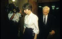 "Frances ""Fran"" and Daniel ""Dan"" Keller leave the courtroom in 1992 following testimony in their sexual assault trial.(Austin American-Statesman /File Photo)"