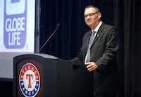 Globe Life Direct Response President and CEO Bill Leavell speaks after unveiling the new name of the air-conditioned ballpark during a news conference at Globe Life Park in Arlington on Thursday.(Tom Fox/Staff Photographer)