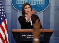 White House press secretary Sarah Huckabee Sanders pointed to a reporter during the daily news briefing at the White House in Washington on Thursday. (Carolyn Kaster/The Associated Press)