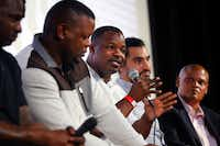 2017: Former Carter High football player Gary Edwards (center) joined Jessie Armstead (left), Derric Evans (second from left) for a discussion of <i>What Carter Lost</i>, an ESPN documentary about the 1988 Carter football team. The film was screened at the Texas Theatre in Dallas earlier this month. Joining the discussion following the premier is director Adam Hootnick and moderator Jean-Jacques Taylor (right).(Tom Fox/Staff Photographer)