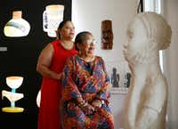 Tarrant County Black Genealogical Society executive director Brenda Sanders-Wise (left) is photographed in the Lenora Rolla Heritage Center Museum with Bennie Ruth Dickens  (Tom Fox/The Dallas Morning News)