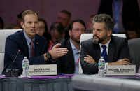 "FEMA Administrator Brock Long, left, addresses a plenary session entitled ""Preparing for the Extreme: Building Resilient Communities"" as 100 Resilient Cities President Michael Berkowitz, right, looks on during the third day of the National Governors Association's meeting Saturday, July 15, 2017, in Providence, R.I. (Stephan Savoia/AP)"