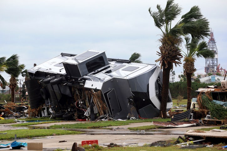 Mobile Homes Are Destroyed At An RV Park After Hurricane Harvey Landed In The Coast Bend Area On Saturday Aug 26 2017 Port Aransas Texas
