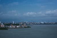 Refineries line the Houston Ship Channel. (Alyssa Schukar/The New York Times)