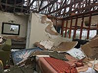Damage at the America Best Value Inn in Refugio.(Charlie Scudder/The Dallas Morning News)
