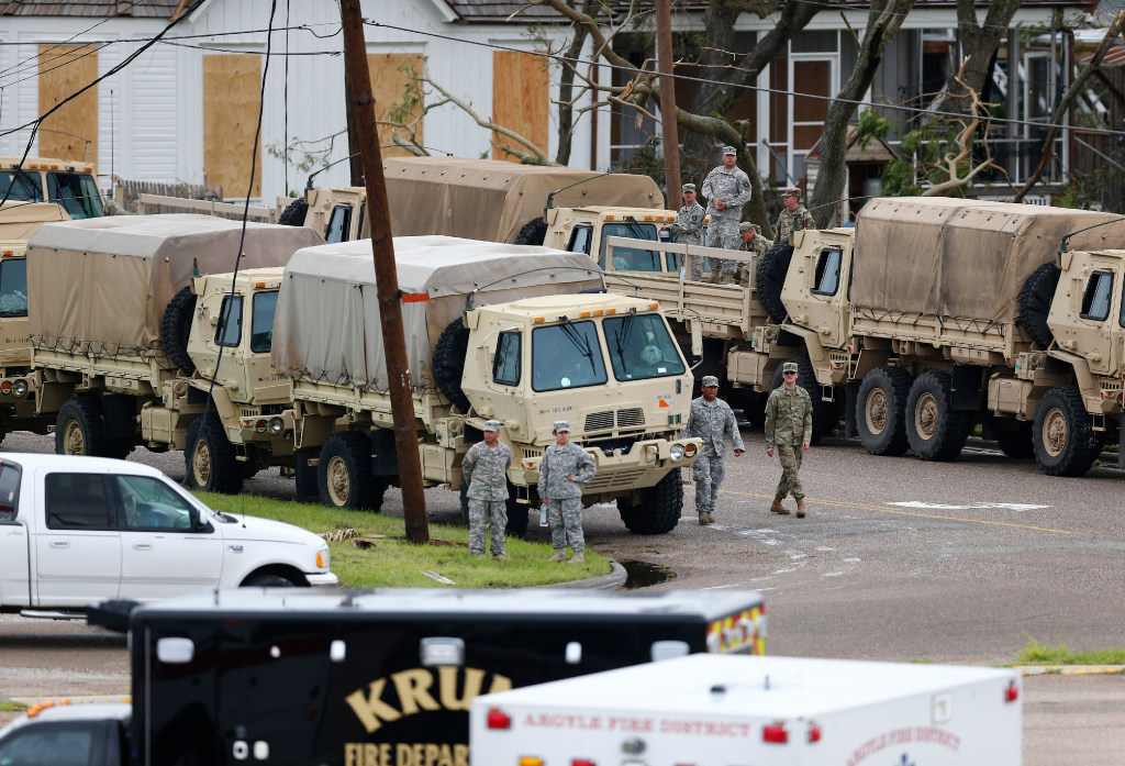 The National Guard waits to search houses after Hurricane Harvey in Rockport,  Texas on Aug. 27, 2017. (Nathan Hunsinger/The Dallas Morning News)