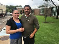 Leonardo and Laura Manqueros left their Pasadena home after being warned about possible flooding and Harvey's path of destruction.(Elvia Limón/Staff)