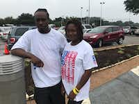 Jeffrey Bean and his wife, Rakeitha, are among the hundreds of Texans taking shelter in Dallas' Walnut Hill Recreation Center.(Elvia Limon/Staff)