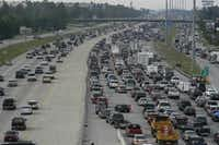 Heavy traffic flows northbound out of Houston on Interstate 45 on both sides of the highway as people evacuate the Galveston and Houston areas before Hurricane Rita hit in 2005. (JOHNNY HANSON/AP)