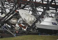 Boats were tossed around after Hurricane Harvey hit Rockport. (Joe Raedle/Getty Images)