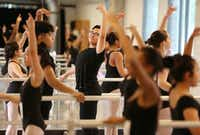 Miguel Falcon Garcia, a sophomore, dances in a ballet class. (Andy Jacobsohn/Staff Photographer)