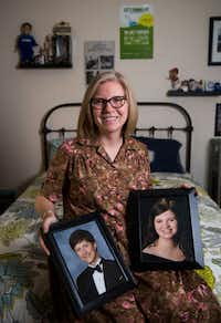 Robin LaBounty holds photos of her son, Gabe LaBounty, 20, who is a student at the University of Houston, and her daughter Olivia LaBounty, 18, who is a student at Texas State University. Both of her children's classes have been delayed because of Hurricane Harvey.(Ashley Landis/Staff Photographer)