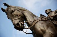 A view of the statue of Confederate general Robert E. Lee at Robert E. Lee Park.(Andy Jacobsohn/Staff Photographer)