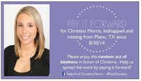 This is the card that family and friends hand out in honor of Christina Morris. To learn more, visit the Facebook page to Help Find Christina Morris.