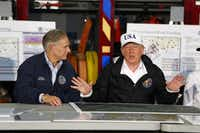 President Donald Trump spoke Tuesday during a briefing by federal, state and local officials at Annaville Fire Station 5 in Corpus Christi.   (Nathan Hunsinger/The Dallas Morning News)(Nathan Hunsinger/Staff Photographer)