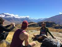 Kris photographs Jake while Andy looks on, enjoying the view of the Mount Aspiring glacier at Mount Aspiring National Park.(Joe Nick Patoski/Special Contributor)