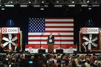 President Donald Trump pitched his tax reform message during an appearance at the Loren Cook Company in Springfield, Mo., on Wednesday.(Michael B. Thomas/Getty Images)