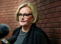 Sen. Claire McCaskill, D-Mo., was a target of President Trump on Wednesday. He cast her as being opposed to tax cuts and said she must get behind an overhaul of the tax code or face losing her seat in next year's election.(Jeff Roberson/The Associated Press)