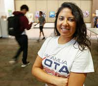 Liz Magallanes registered students to vote at North Lake College. She is the D-FW coordinator of Mi Familia Vota, a nonprofit dedicated to voting rights and other issues.<div><br></div>(Ron Baselice/The Dallas Morning News)