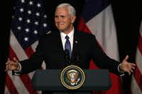 In the file photo, Vice President Mike Pence gestures as he delivers a speech during a business dinner in Santiago, on August 16. (Claudio Reyes/Agence France-Presse)