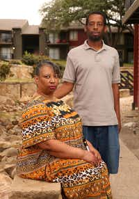 Sacharazonta Rooters and her son, Fred Rooters, outside her apartment complex in August. Fred Rooters wants to help his mother pay back what she owes in rent. (Rose Baca/Staff Photographer)