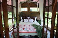 The open-air bedroom in the Majestic Oak Treehouse at Savannah's Meadow in Celeste.(Rose Baca/Staff Photographer)