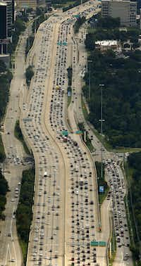 Southbound traffic on the 610 West Loop is backed up as folks got back on the roads in Houston, Texas, Wednesday, August 30, 2017. (Tom Fox/The Dallas Morning News)