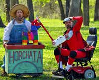 From left, Anthony L. Ramirez (Sancho Panza) and Jim Jorgensen (Quixote) in Shakespeare Dallas' production of <i>Quixote</i> at Samuell Grand Amphitheater. TACA's Artist Residency Fund helped finance the show.(Jessica Helton)
