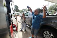 Rami Khdeir reacts to the gas pumps running out of fuel at Kroger in Beaumont, Texas,  August 31, 2017. His father-in-law Asad Bassa tries to find another place for fuel.(Rick Moon/Special Contributor)