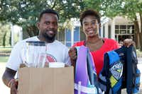 Darvin Peterson packed a blender and supplies for his business along with documents connected to his business while his wife, LaPorsha Alexander, brought life vests for the children when they left their home in Kingwood. (Vernon Bryant/Staff Photographer)