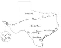 Zone map for 2017 dove hunting(Texas Parks and Wildlife Department)
