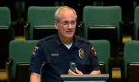 Plano Police Chief Greg Rushin tells City Council members that his officers will have the body-worn cameras on their chests to capture the best view.(Plano TV )