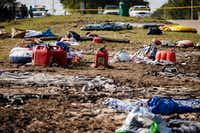 Debris left behind from the evacuation litters the median of Mason Road near the entrance to the Cinco Ranch Canyon Gate subdivision in Katy on Sept. 2, 2017.(Smiley N. Pool/Staff Photographer)