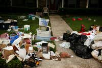 Debris remained outside homes in Meyerland a week after Harvey moved through the area. Residents were continuing to clean up after flooding caused by the hurricane.(Andy Jacobsohn/Staff Photographer)