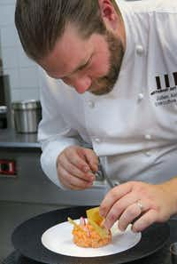 Julien Asseo, the executive chef of the Michelin-starred restaurant Guy Savoy at Caesars Palace, teaches hands-on cooking classes.(Michael Hiller)