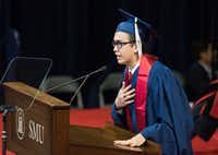 Jose Manuel Santoyo spoke of his gratitude to the faculty during SMU's December graduation on Dec. 17, 2016. He is a DACA beneficiary. (Rex C. Curry/Special Contributor)
