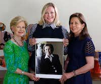 """Sisters in secrecy,"" from left, philanthropist Caren Prothro, Jennifer Sampson, CEO of United Way Metropolitan Dallas and Kelly Compton, executive director of The Hoglund Foundation in Dallas hold a portrait of their friend Ruth Sharp Altshuler on Tuesday, August 22, 2017 in Caren Prothro's home. They plan on having a big surprise to honor Ruth, one of Dallas' most beloved do-gooders. (David Woo/The Dallas Morning News)(David Woo/Staff Photographer)"