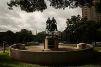 A view of the statue of Confederate general Robert E. Lee at Robert E. Lee Park in the Oak Lawn neighborhood of Dallas Wednesday August 16, 2017.(Andy Jacobsohn/Staff Photographer)